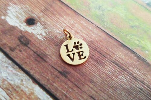 1 Love Pet Charm Gold Stainless Steel Animal Lover Dog Mom Pendant with Ring