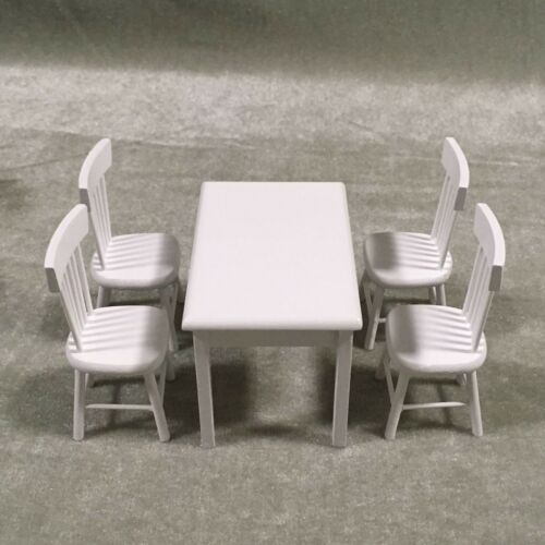 Dollhouse Miniature Furniture Wood Dining Room Table 4 Chair Kitchen Decor 1:12