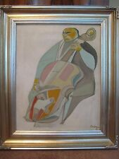 ORIGINAL 1963 SIGNED IRVING AMEN MID CENTURY MODERNIST OIL PAINTING THE CELLO