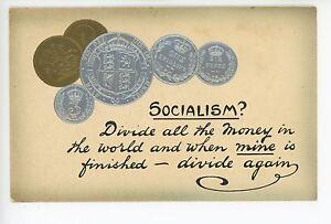 """""""Socialism?"""" Antique Coin PC Socialist Humor—Rare Antique British PC 1910s"""