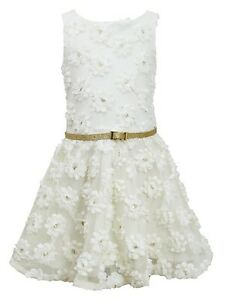 Jean girls ivory gold dimensional sequin bonaz rosette belted dress 7