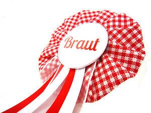 Orden-Braut-JGA-rot-vichy-Deko-Accessoire-Anstecker-Button-Hochzeit-Bride-to-be