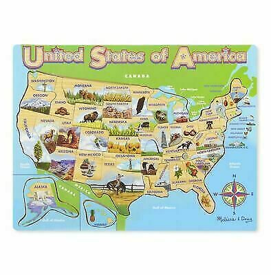 Melissa & Doug Deluxe Wooden USA Map Puzzle for sale online | eBay