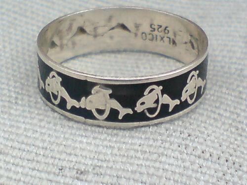 Sterling Silver Anillo De Banda Estampada Con Delfines Reino Unido Tamaño P £ 10.50 Nuevo con etiquetas