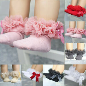 Toddler baby girls princess bowknot sock kids lace ruffle ankle socks lovely