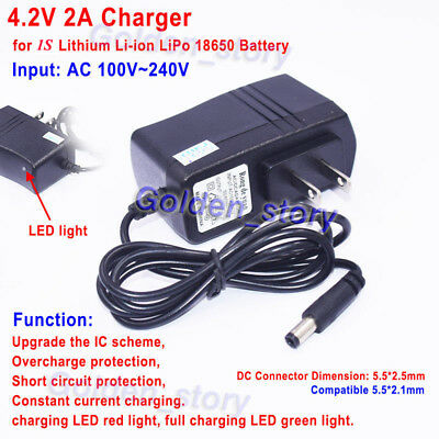 4.2V 1A Charger AC//DC Adapter for 1S 18650 Li-ion LiPo Lithium Battery BMS Packs