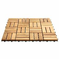 Teak Interlocking Floor Tiles Outdoor Deck Patio Balcony Flooring Pack Of 10