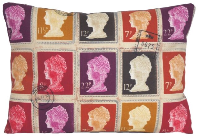 Post Stamps Cushion Cover Throw Pillow Case Fabric Royal Mail First Class
