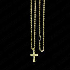 Real 10K Yellow Gold Jesus Cross Charm Pendant Diamond Cut & 2mm Rope Chain