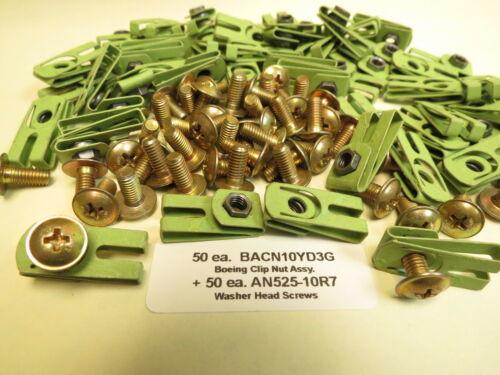 50 ea Boeing Aircraft # BACN10YD3G #10-32 Clip Nuts AN525-10R7 Screws 50 ea