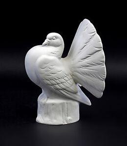 Antiques Porcelain Figurine Bird Peacock-pigeon Zuchttaube White Bisque H17cm 9942549 Complete Range Of Articles
