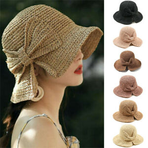 Women-Girls-Straw-Hats-Foldable-Beach-Sun-Hat-Brimmed-Stretch-Anti-UV-Caps-Gifts