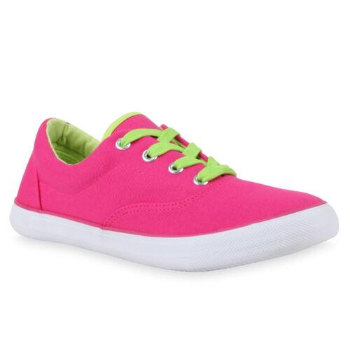 Damen Kinder Sneakers Low Neon Turnschuhe Stoffschuhe Flats 78805 Schuhe
