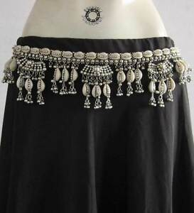 Tribal-Belly-Dance-Belt-Sea-Shell-Silver-Plated-Metal-Beads-Banjara-Kuchi-Gypsy