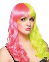 Adult Rave Pink And Yellow Party Dress Up Wig