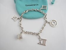 Tiffany & Co Silver Atlas Roman Numerals Charm Donut Link Chain Bracelet Bangle!
