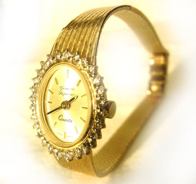 Vintage Lady S 14k Yellow Gold Quartz Geneva Bracelet Watch Vs Diamonds