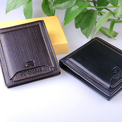 new men's black leather Wallet Pockets ID Card holder Clutch Bifold money purse