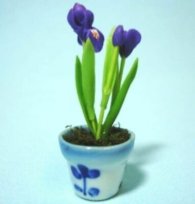 Dollhouse Miniature 1:12 Tulip /& Iris Arrangement in Bowl Planter