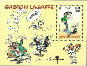 Bloc-Feuillet-BF31-Fete-du-Timbre-Gaston-Lagaffe-2001-Neuf-Luxe