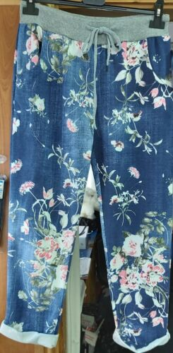 New Spring 2020 Ladies Lagenlook Italian Comfy Stripe Print Cotton Bottoms Pants