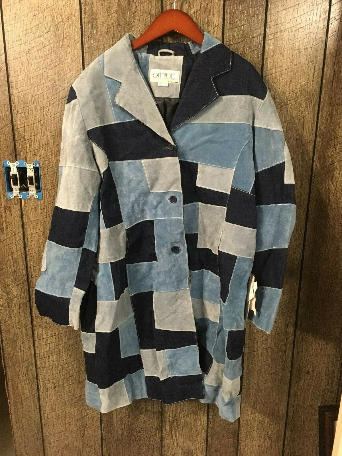 New Comint bluee Leather Patchwork 3 4 4 4 Length Coat Women's Size X-Large NWT a3aa50