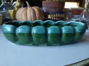 MCM-USA-Pottery-Rolled-Rim-Green-Lava-Drip-Glaze-Flower-Pot-Planter-Bowl-11-034