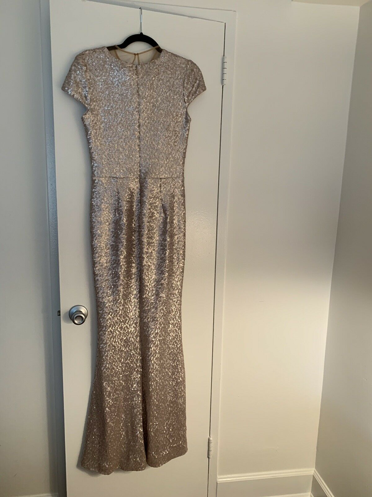 Dress the the the Population Ice Pink Michelle Sequin Short Sleeve Gown Size M e50e3b