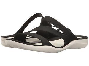 3e2120fc5115a Women Crocs Swiftwater Sandal 203998-066 Black White 100% Original ...