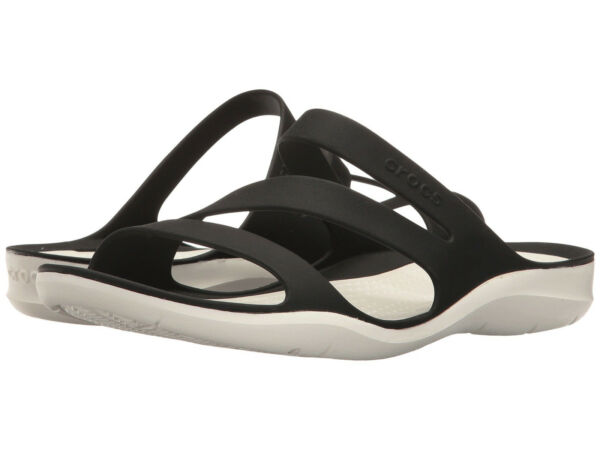 ff8dab827433 Women Crocs Swiftwater Sandal 203998-066 Black White 100% Original Brand New