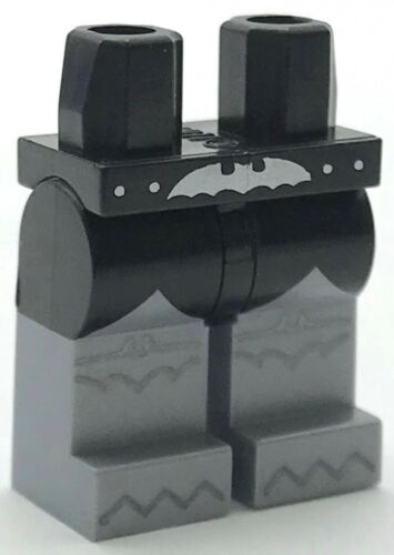 Lego New Black Hips and Flat Silver Legs Silver Bat Belt Buckle Black Scalloped