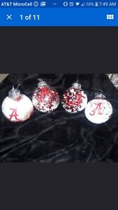 Beautiful Handmade Set Of 4 Roll Tide Alabama  Football Christmas  Ornaments