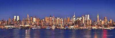 BW New York City NYC Brooklyn Bridge Manhattan Skyline Pano Photo Print 12x36
