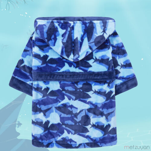Kids Child Boys Shark Dressing Gown Hood Jawsome Jaws Patterned Bathrobe for Boy