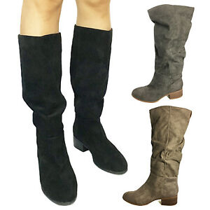 WOMENS-MID-CALF-BOOTS-LOW-HEEL-SUEDE-SHOES-KNEE-HIGH-VINTAGE-BIKER-BOOTIES-SIZE