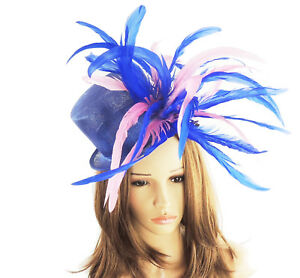 Royal Blue   Hot Pink Fascinator Hat For Weddings Ascot Kentucky ... e345f1dae5a