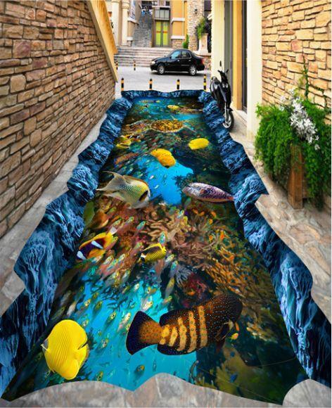3D sea fish water 737 Floor WallPaper Murals Wall Print Decal 5D AJ WALLPAPER