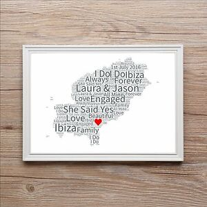Engagement word art gift map of love anniversary wedding ibiza image is loading engagement word art gift map of love anniversary gumiabroncs Images