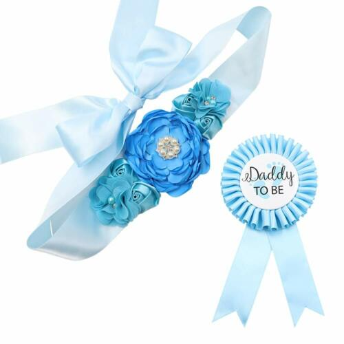 Sky Blue Maternity Sash Daddy To Be Corsage Set Baby Shower Belly Belt