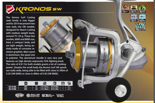 Trabucco Kronos sw surf fishing reel 8000 size perfect for medium tackle surf