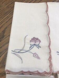 Vintage-Napkins-15-039-X16-034-embroidered-flower-Pink-Mauve-Scalloped-edge-set-of-8