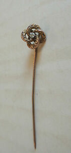 Antique Art Deco 14k White & Yellow Gold Blue Sapphire Lapel Stick Pin Buy Now Pins, Brooches Fine