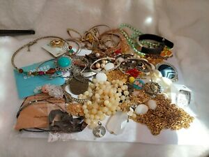 Lot of SCRAP Miscellaneous Costume Jewelry Some New, Some Old, Some Functional,