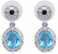 Electric Blue Topaz, Kanchanaburi Blue Sapphire Earrings Tgw 5.90 Cts