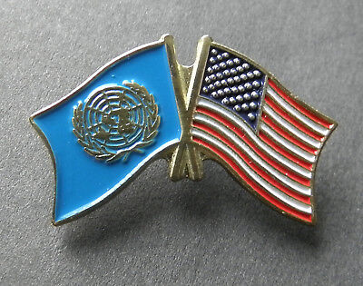 UNITED NATIONS USA COMBO FLAG LAPEL PIN BADGE 1 INCH