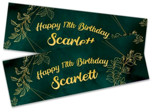 x2 Personalised Birthday Banner Floral Children Kids Party Decoration 3