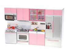 Modern Kitchen Playset Battery Operated Refrigerator Stove Sink Microwave Pink
