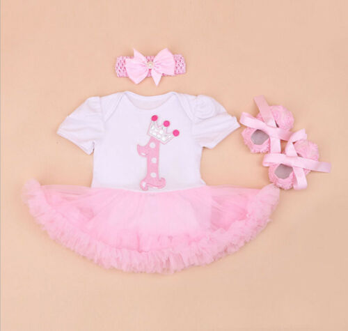 Baby Girls/' 3PCs Crown 1st Birthday Outfit Dress Bowknot Headband Shoe