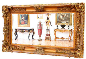 wandspiegel barock rahmen gold dunkel patiniert luxus spiegel gross ebay. Black Bedroom Furniture Sets. Home Design Ideas
