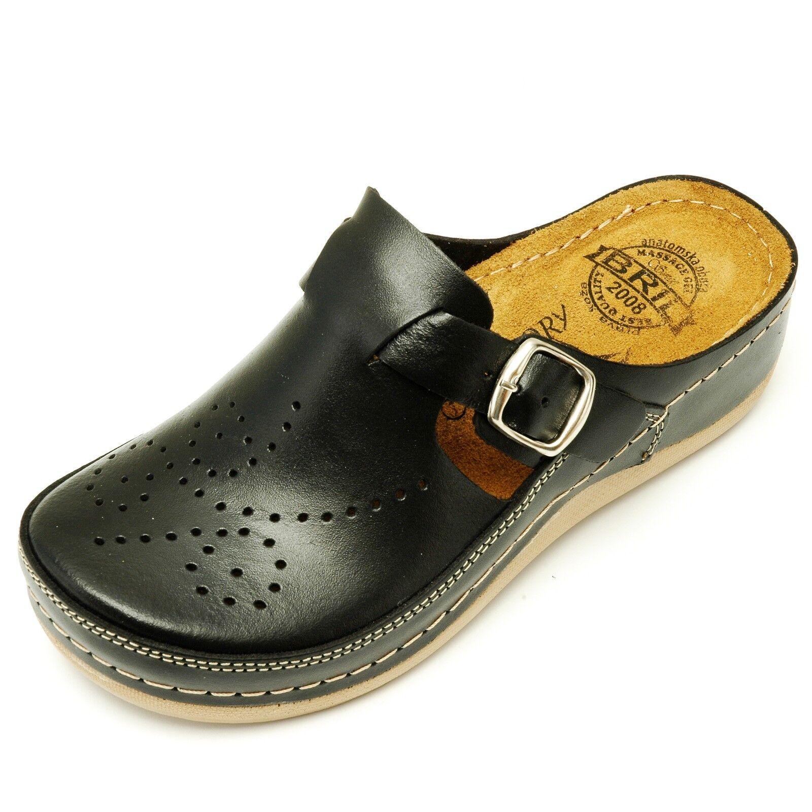 Dr punto rojo Bril D145 de cuero para mujer Slip On Suecos Mulas Zapatillas Zapatos, Negro